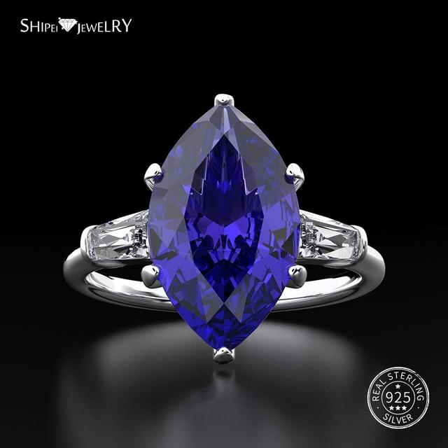 Shipei 天然サファイアリング女性のためのリアル 100% スターリングシルバー宝石用原石シトリン婚約ウェディングカクテル · リングファインジュエリー