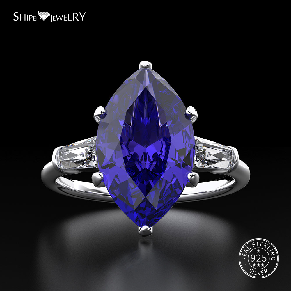 Shipei Natural Sapphire Ring for Women Real 100% Sterling Silver Gemstone Citrine Engagement Wedding Coctail Ring Fine Jewelry-in Rings from Jewelry & Accessories