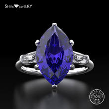 цена Shipei Natural Sapphire Ring for Women Real 100% Sterling Silver Gemstone Citrine Engagement Wedding Coctail Ring Fine Jewelry онлайн в 2017 году