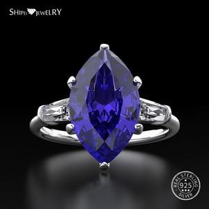 Image 1 - Shipei Natuurlijke Saffier Ring voor Vrouwen Echt 100% Sterling Zilveren Edelsteen Citrien Engagement Wedding Coctail Ring Fijne Sieraden