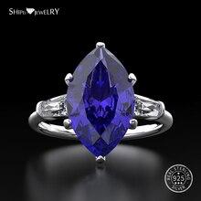 Shipei naturalny pierścionek z szafirem dla kobiet prawdziwe 100% Sterling Silver kamień cytryn pierścionek zaręczynowy ślub koktajl pierścień Fine Jewelry