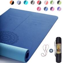 Tapete de yoga tpe com linha de posição 6mm antiderrapante dupla camada esportes exercício almofada para iniciante casa ginásio ginástica pilates