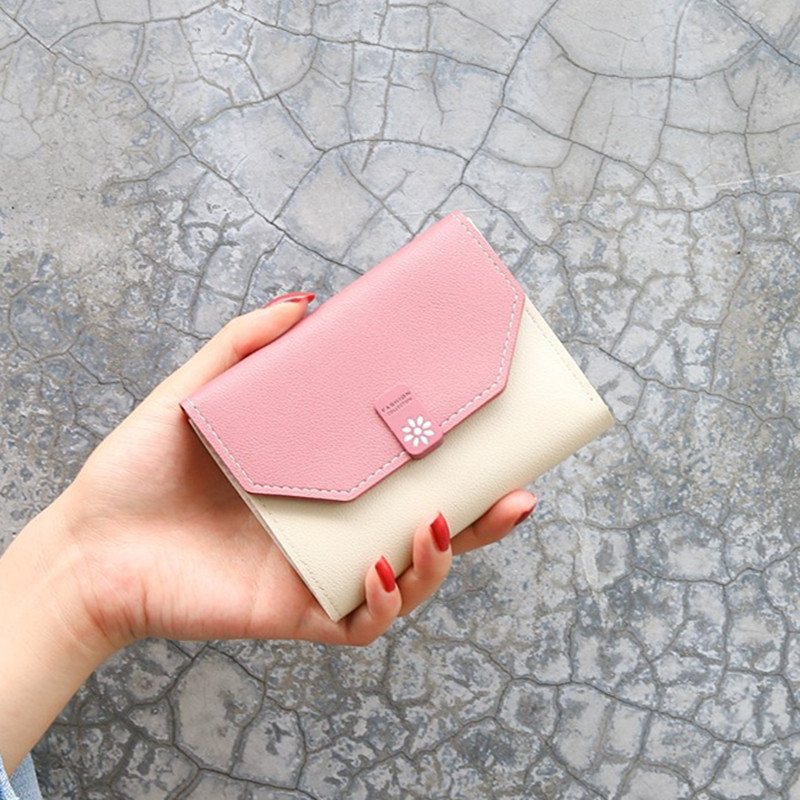 Girls Short Wallets PU Leather Female Mini Purses Card Holder Women Wallet Fashion Small Zipper Wallet With Coin Bag Wholesale