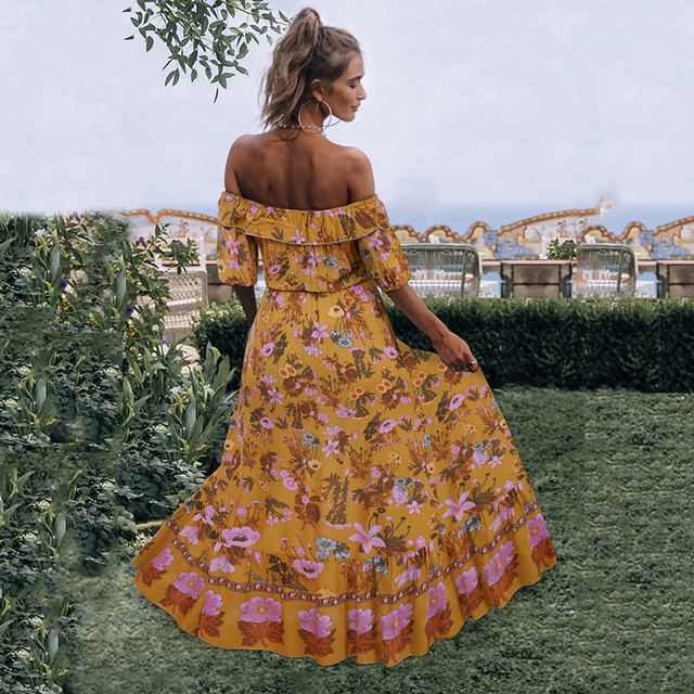 women dresses summer 2020 Off Shoulder Fashion Bohe Dot Print Camisole V-neck Button Ruffled Sundress Dress Beachwear#g30