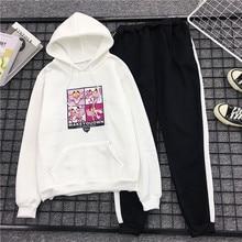 Milinsus Cartoon Pink Panther Printed  2 Piece Sets Woman Hoodies Kawaii Sweatshirt +Pants Suits 2019 Tracksuits Clothes New