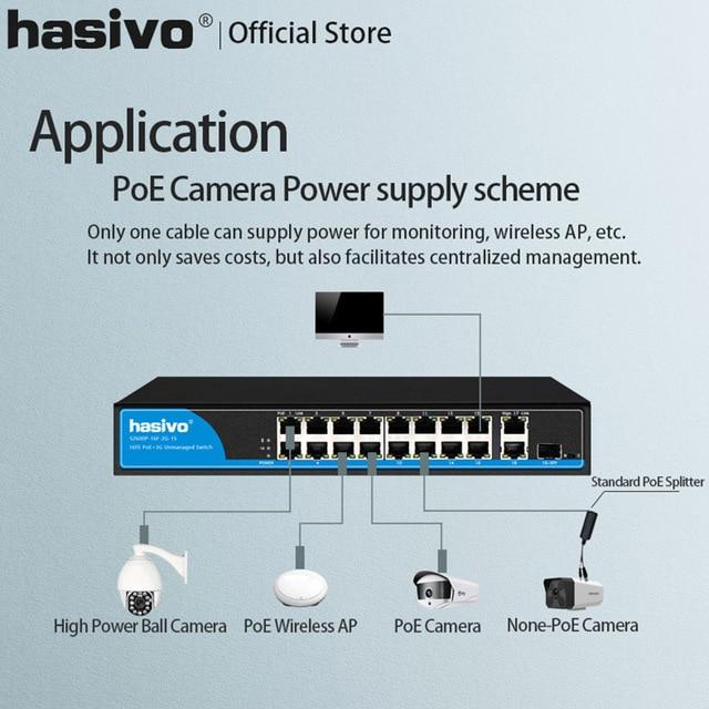 Commutateur Ethernet SFP POE, 16 ports pour caméra ip, 48v, avec 2 ports, 1000M, liaison montante, 1 port, commutateur Ethernet PoE