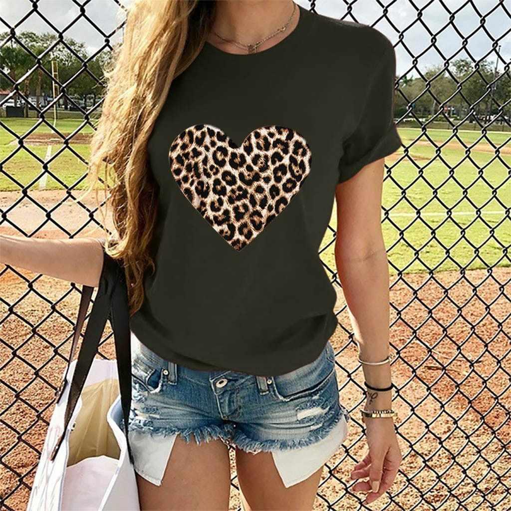T Shirt Vrouwen 2019 Vintage 8 Kleur Lady Valentijnsdag Casual Korte Mouw O Hals Luipaard Print Hart-vormige Top Camiseta Mujer