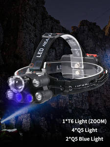 GIJOE Black Light Battery Headlamp Waterproof Hiking Camping 2--18650 Uv T6 Plastic Multifunction