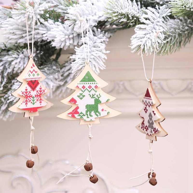 Baru Pohon Natal Kepingan Salju Hiasan Kayu Pedesaan Selamat Pohon Natal Gantung Drop Liontin Xmas Dekorasi