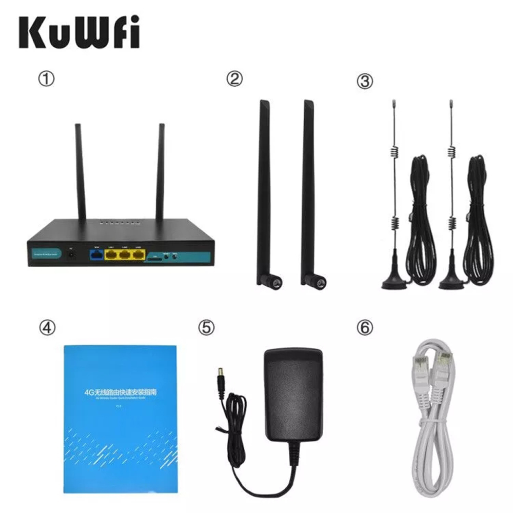 KuWFi 4G LTE SIM Card WiFi Router 150Mbps CAT4 Industrial Wireless Coverage WAN LAN Port Up to 32 Wifi users 4 External Antennas 6