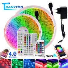 Светодиодная лента 5050 RGB с Wi-Fi 5 м/10 м/15 м/20 м/30 м, неоновая лампа с ИК/Bluetooth/ Wi-Fi пультом дистанционного управления и адаптером питания для украш...