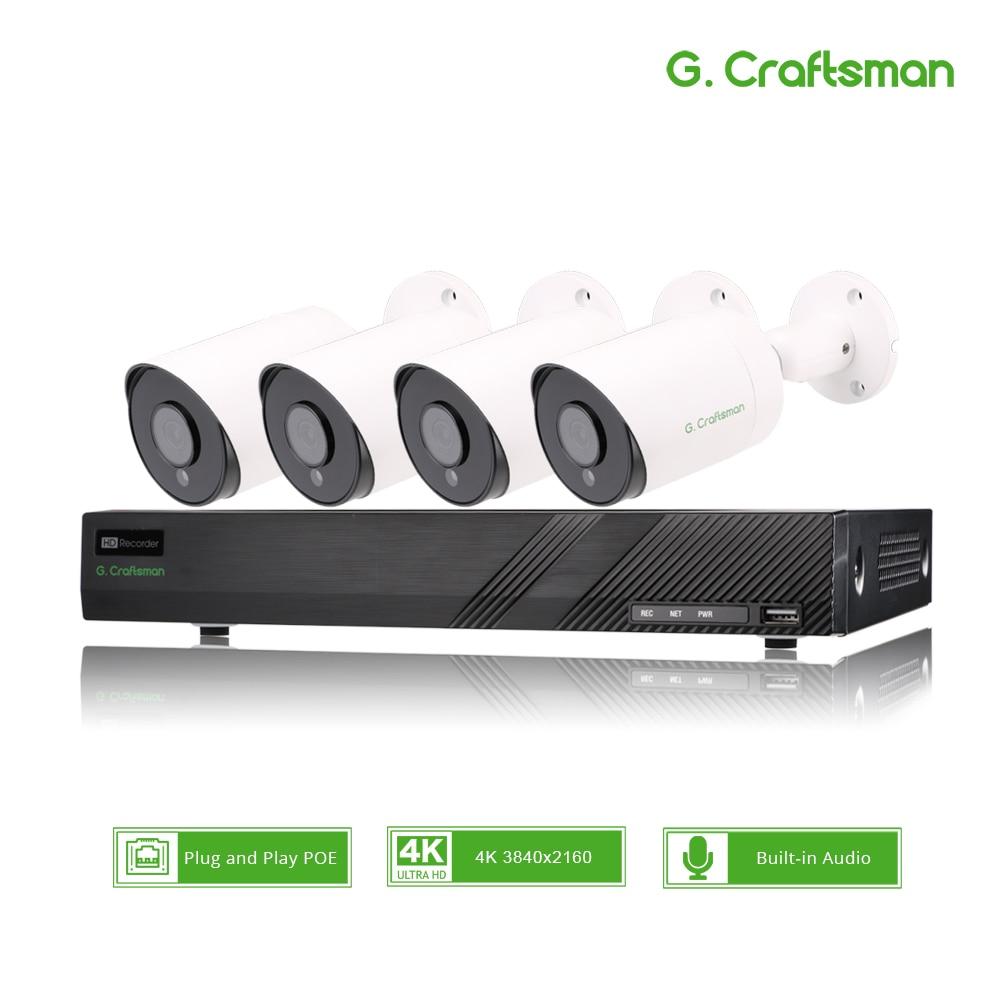4ch 4 k poe kit sistema de segurança cctv sony imax415 h.265 8ch nvr ao ar livre à prova dnvr água áudio ip câmera vigilância alarme vídeo p2p