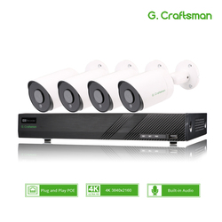 4ch 4K POE ערכת מערכת אבטחת CCTV Sony IMAX415 H.265 8ch NVR חיצוני עמיד למים אודיו IP מצלמה מעקב מעורר וידאו p2p