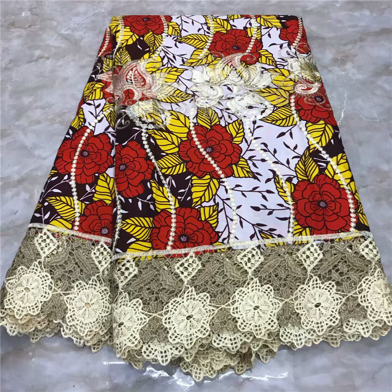 2019 New Latest High Quality Ankara Lace Wax 6 Yards African Nigerian Embroidery Veritable Print Wax Pagne With Guipure Lace