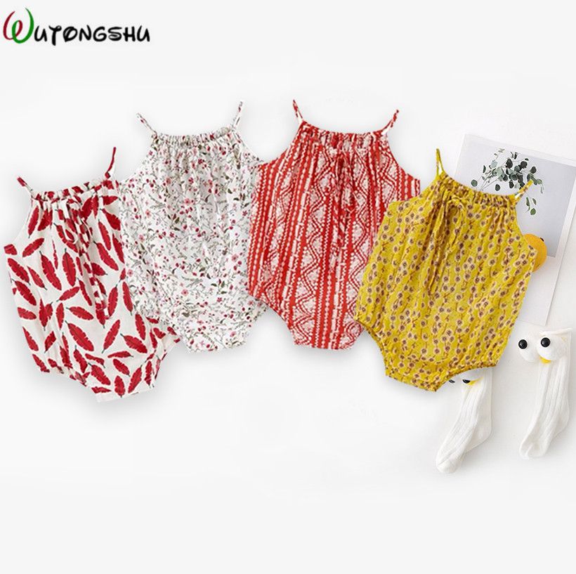 Newborn Rompers Baby Girl Clothes Sleeveless Backless Summer Baby Girl Jumpsuit Casual Sunsuit Cute Cotton Outfits For 0-2Y Kids