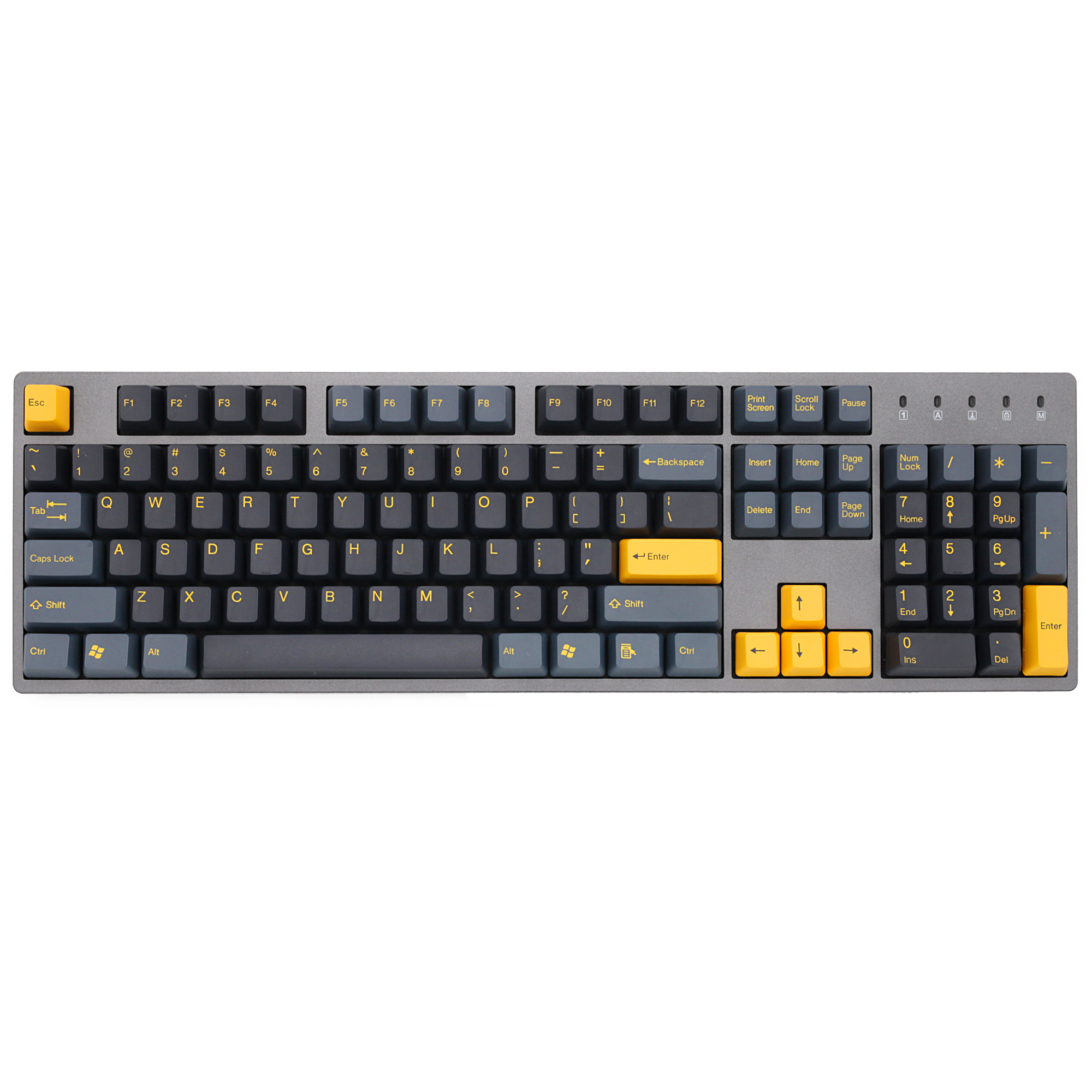 Taihao Abs Double Shot Keycaps Midnight  For Diy Gaming Mechanical Keyboard Color Of Black Yellow 104 Ansi
