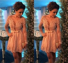 Шампанское кружева коктейльные платья с длинными рукавами Сексуальная короткие платья мини Homecoming партии платья Vestidos де noiva