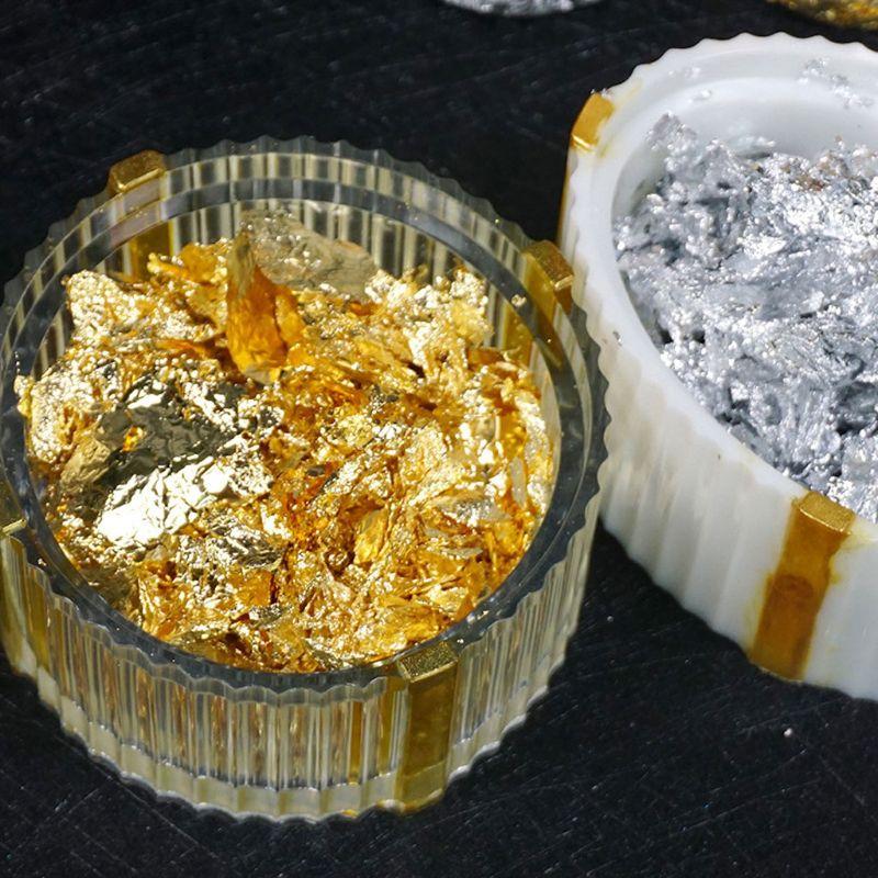 12 Box Gold Silver Foil Paper Sequins Resin Mold Fillings Filler Resin Crafts
