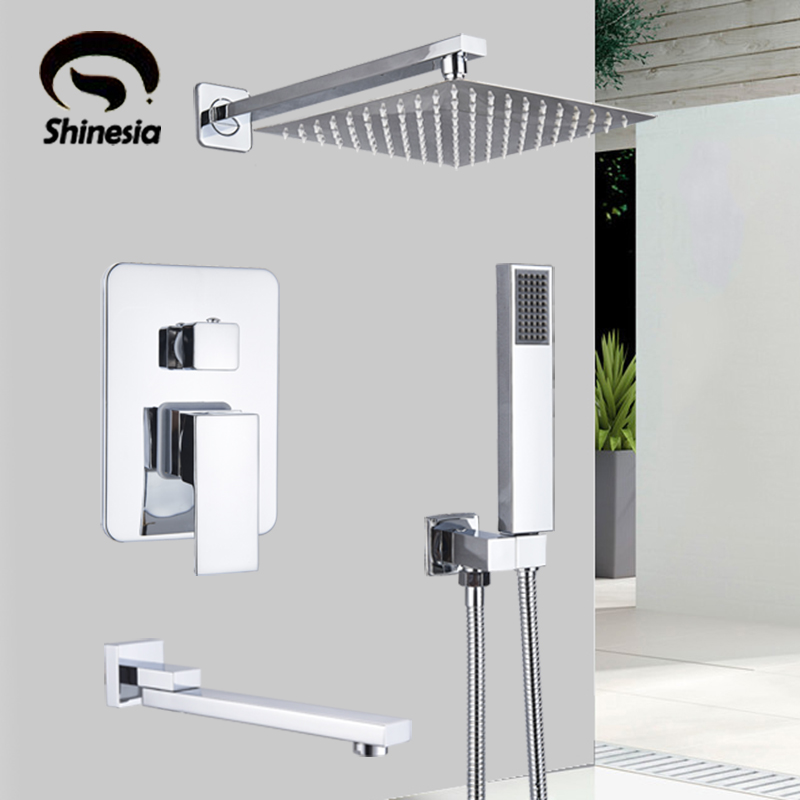 Shinesia Chrome Concealed Bathroom Shower Faucet Set Wall Mounted 8 10 12 16 Rainfall Shower Head Shinesia Chrome Concealed Bathroom Shower Faucet Set Wall Mounted 8''10''12''16'' Rainfall Shower Head Hot and Cold Mixer Tap