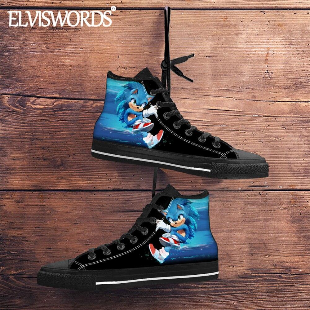 Men Fashion High Top Vulcanize Shoes Hot Game Sonic The Hedgehog Sneaker Canvas Fabric Teenage Boys Cool Blue Sonic Zapatillas Men S Vulcanize Shoes Aliexpress