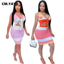 CM.YAYA Frauen Sommer Gestreifte Krawatte Up V-ausschnitt Sleeveless Cut Out Taille Bodycon Midi Sexy Party Club Kleid