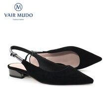 Vair mudo mulher bombas sapatos moda elegante baixo saltos grossos apontou toe criança camurça sexy fivela cinta sapato preto D31-C