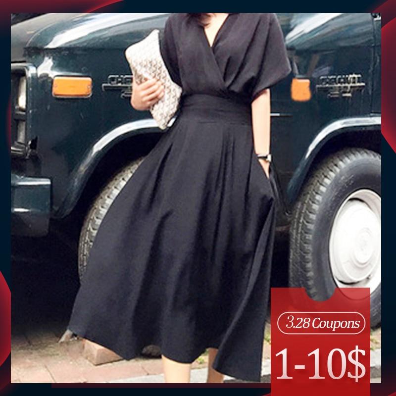 Summer Casual Sexy Elegant Korean Office Ladies Vintage Women Midi Dresses Black White Loose High Waist Solid Female Dress 2020