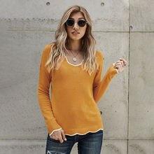 Осенне зимний новый Однотонный свитер большого размера женский