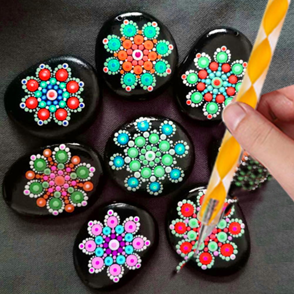 Dotting Tools Kit Mandala Rock Painting Stencils Stone Embossing Starter Drawing Stylus Pens Dotting Rods Kid Craft DIY Wall Art