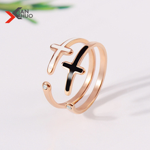 Stainless Steel Cross Open Ring Heart Cubic Zirconia Cuff Number Ring Women Party Jewelry T Anillos Mujer stunning heart wing cuff ring for women