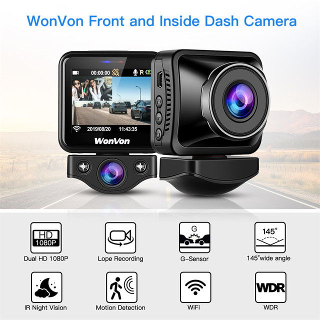WonVon M5B Car Dash Camera 145° LCD 2.0MP Sony IMX307 IR Night Vision WiFi Dash Cam HD 1080P Dual DVR G Sensor Loop Recorrding