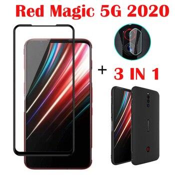 Перейти на Алиэкспресс и купить 3-в-1 Чехол-стекло для ZTE Nubia Red Magic 5G защита экрана стекло полная защита для Red Magic 5G стекло для объектива камеры