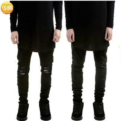 2019 Fashion Streetwear Men's Jeans Vintage Black Color Skinny Destroyed Ripped  Male Broken Slim Homme Hip Hop Denim Pants