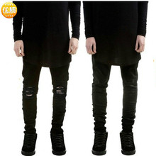 2019 Fashion Streetwear Men's Jeans Vintage Black Color Skin