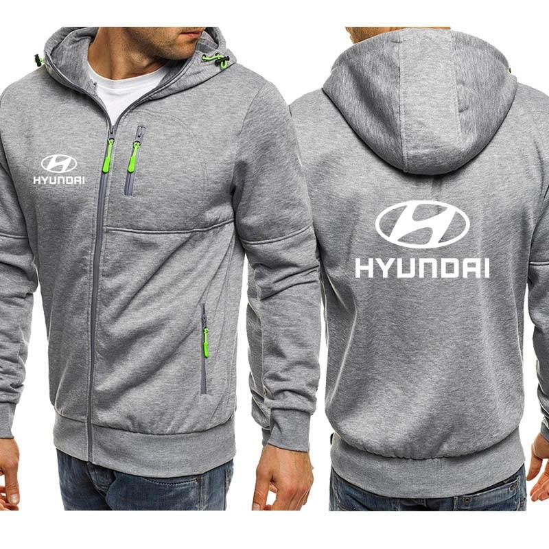 Hoodies Men Hyundai Car Logo Print Casual Hip Hop Harajuku Long Sleeve Hooded Sweatshirts Mens Zipper Jacket Man Hoody Clothing