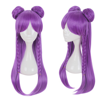 Kaisa wig Game LOL K/DA Kaisa Cosplay Wigs Long Purple KDA Cosplay Wig with Buns Halloween Heat Resistant Synthetic Hair image