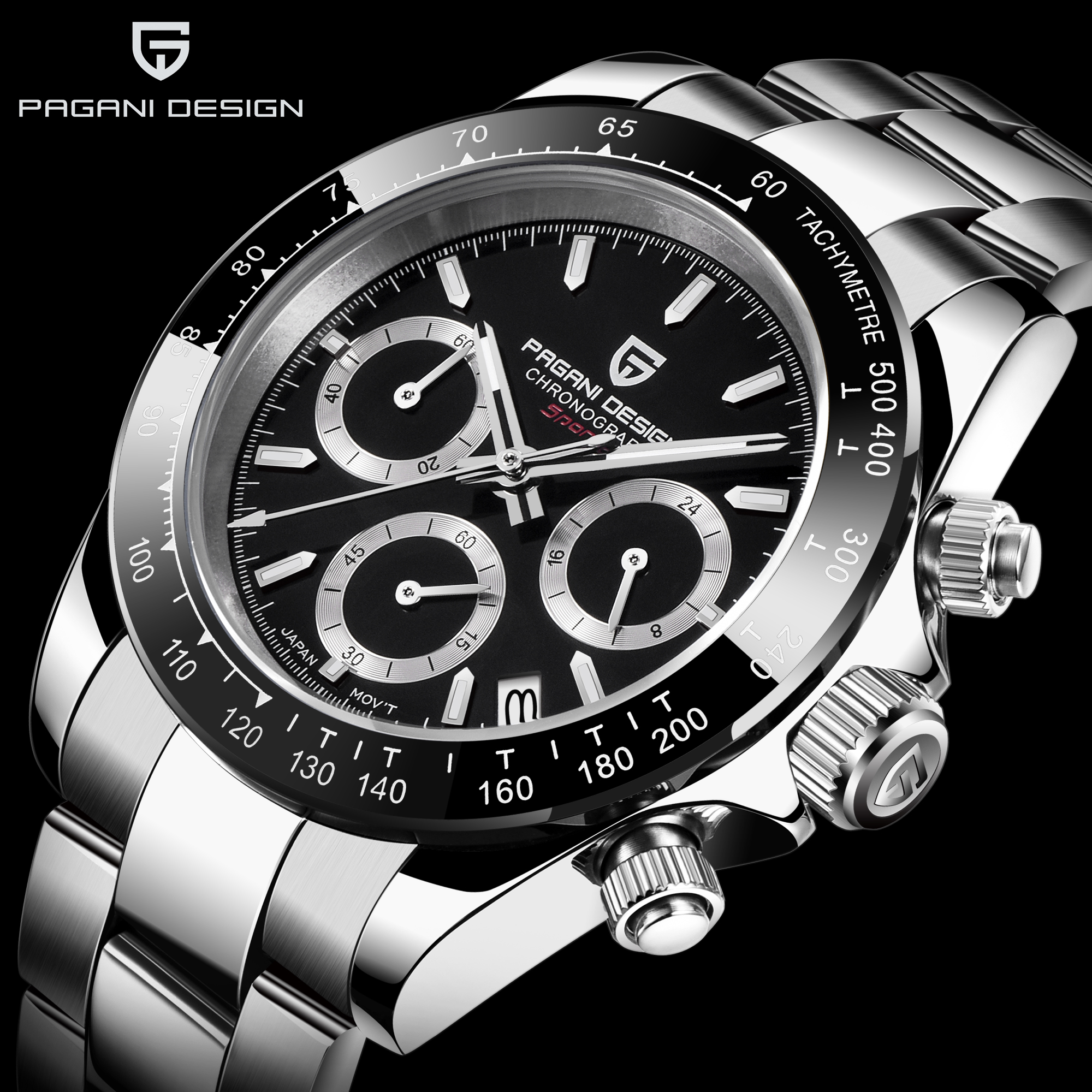 PAGANI Mens Relógios Top Marca de Luxo relógio de Pulso Relógio de Quartzo preto Homens Relógio À Prova D' Água Esporte Cronógrafo Relogio masculino