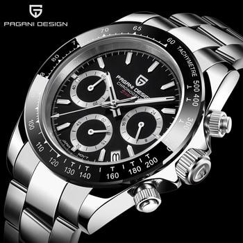 цена на PAGANI Mens Watches Top Brand Luxury WristWatch Quartz Clock black Watch Men Waterproof Sport Chronograph Relogio Masculino