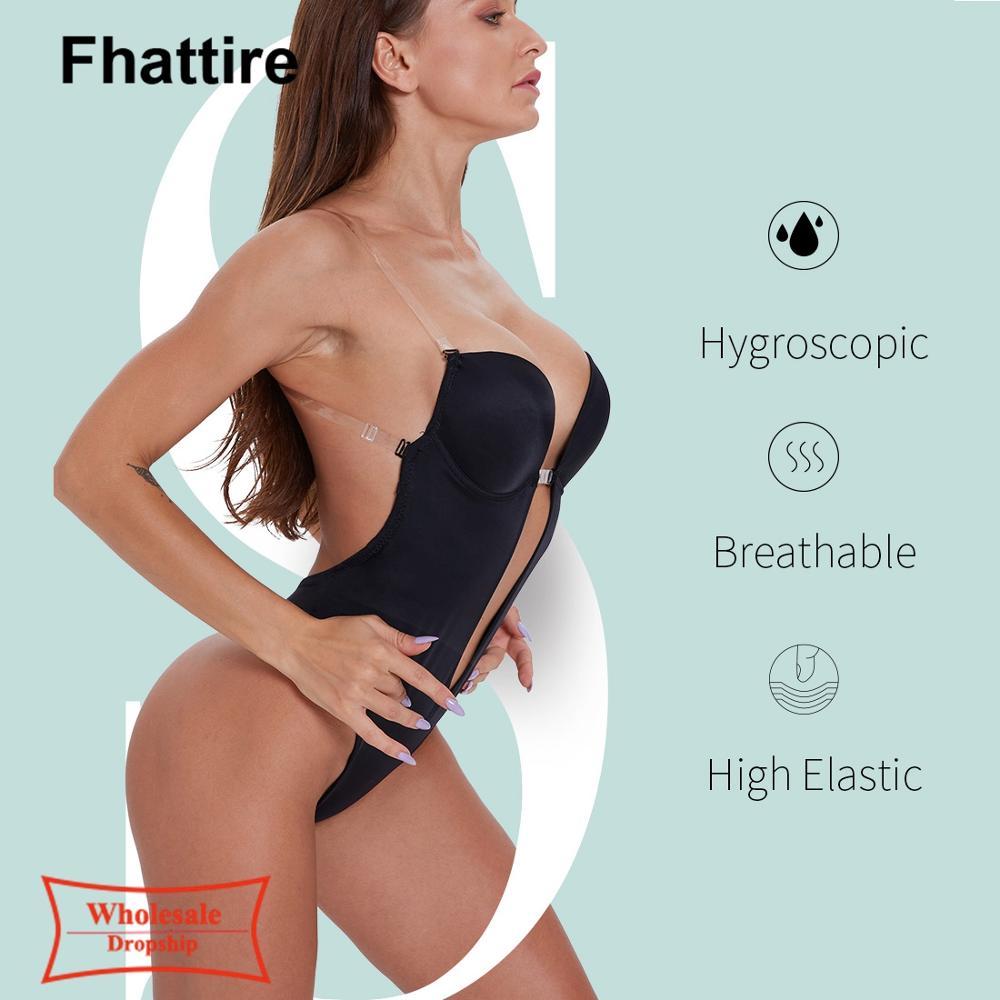 Women Body Shaper Bodysuits Plunge U Push up Shaperwear Tummy Belly Slimmer Seamless Slimming Underwear Stretchy Shapers