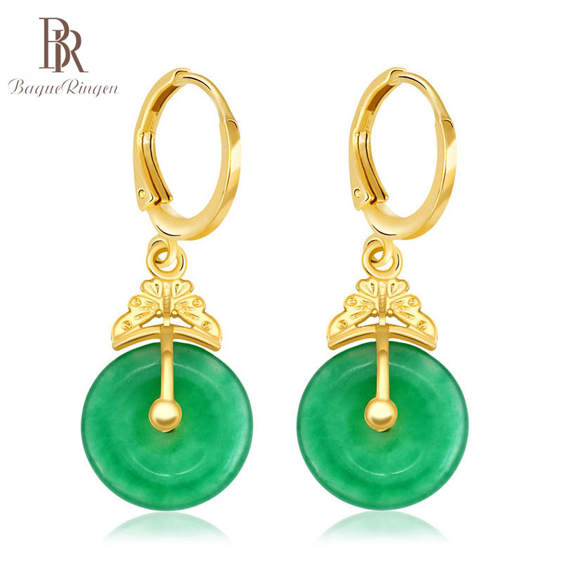 Bague Ringen Elegant Silver 925 Earrings For Women Fine Jewelry With Round Malay Jade Female Classic Ear Drops Anniversary Gifts