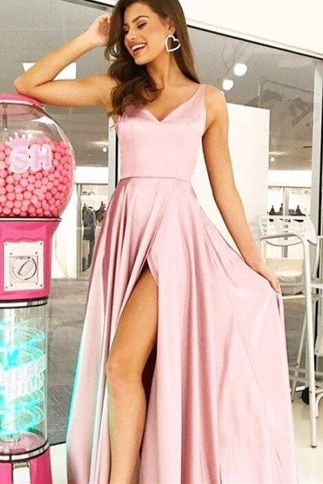 Jolie col en V a-ligne femmes robe de soirée côté fendu imité soie tissu formel robe de soirée robe de soirée