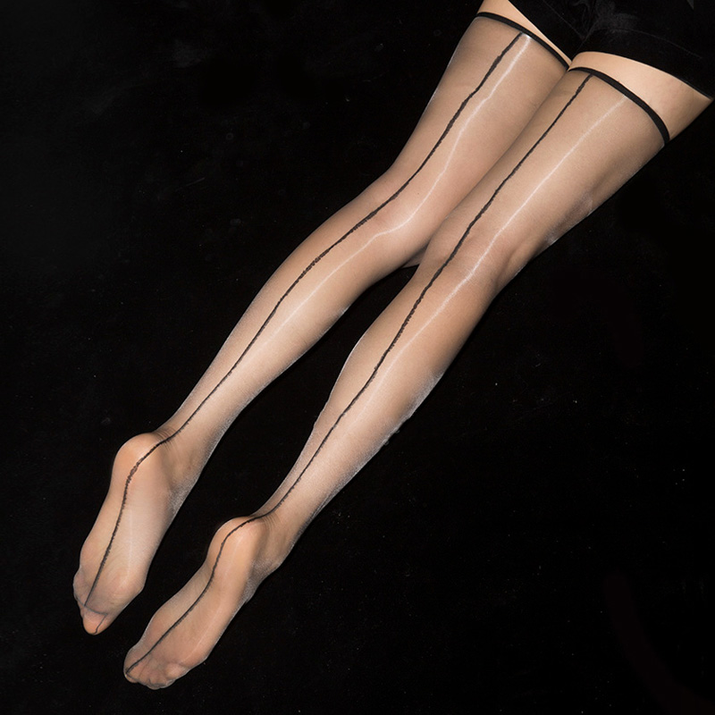 1D Ultra Thin Transparent Thigh High Stockings Women Sexy Oil Shine Long Stockings Retro Back Line Seamed Medias Hosiery