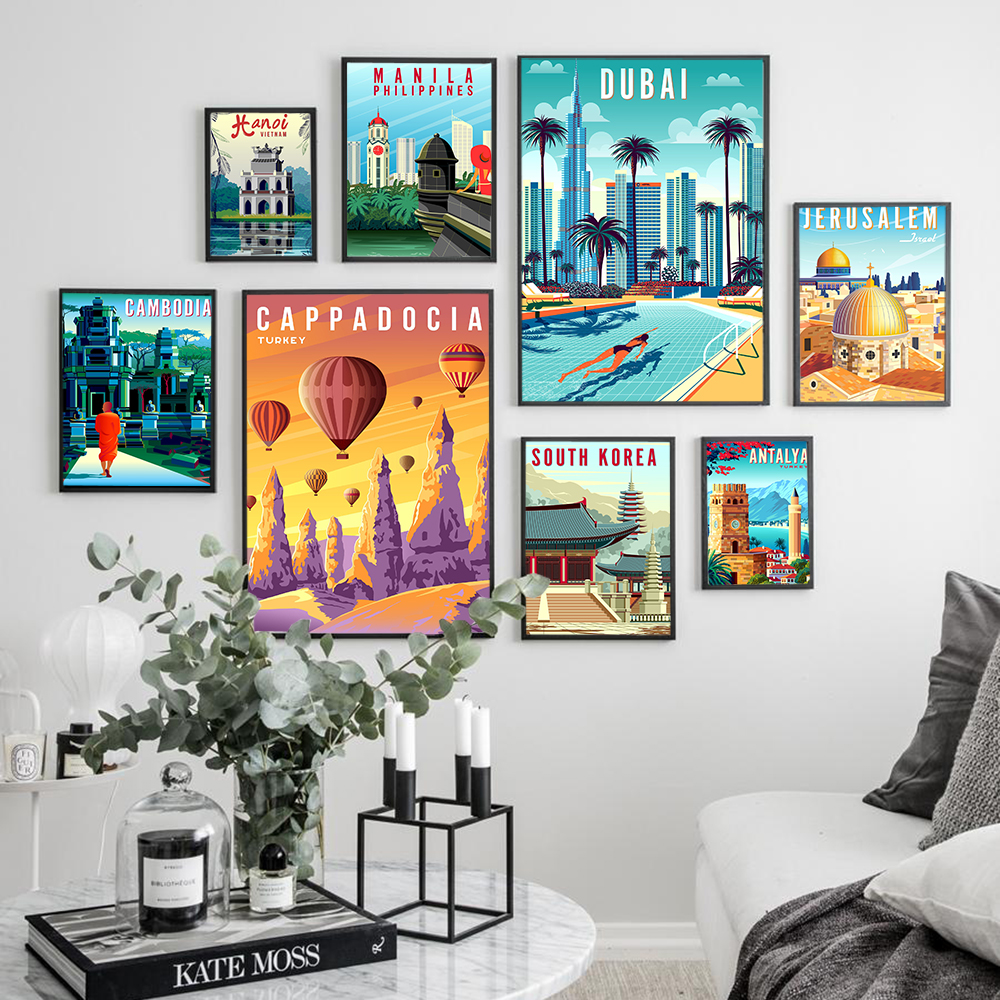 Hd Print Canvas Art Painting Turkey Dubai South Korea Israel Philippines Vintage Travel Cities Landscape Poster Wall Art Picture