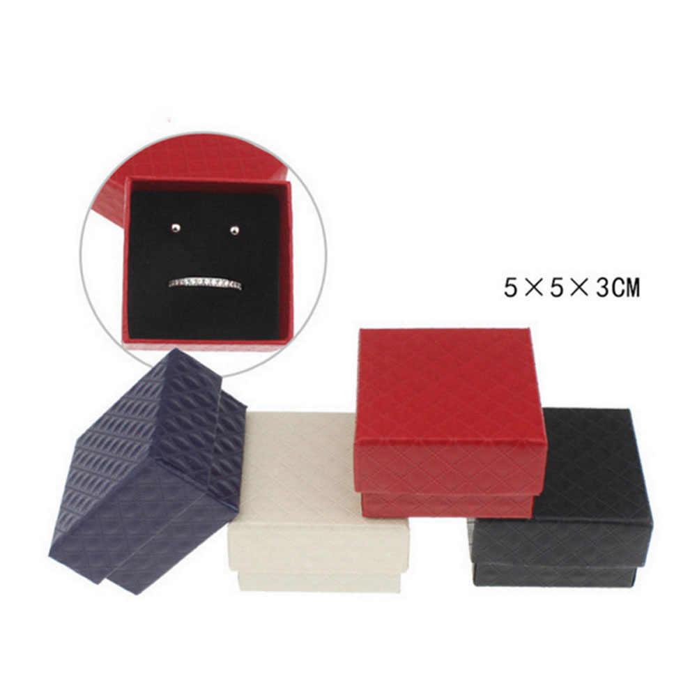 Caja de joyería cuadrada de alta calidad caja de anillo de compromiso de boda para pendientes caja de regalo o muestra titular negro rojo blanco Azul Marino