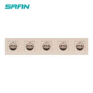 Image 3 - SRAN 430mm * 86mm האיחוד האירופי תקע קיר שקע חשמל בית רב מסגרת שחור/לבן/זהב להבת מעכב PC פנל שקעי