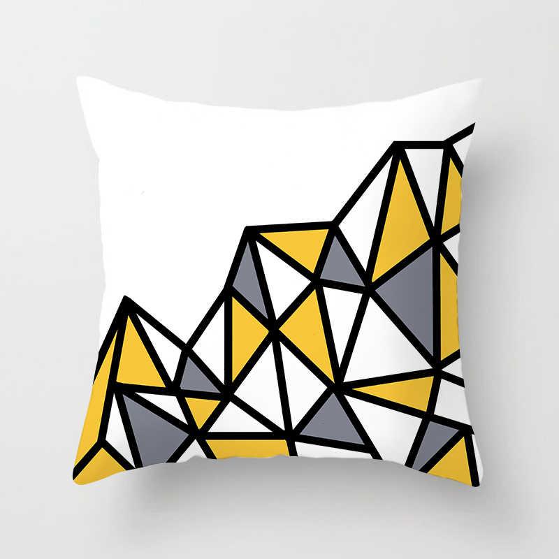 Fuwatacchi Kuning Berlian Gelombang Sarung Bantal Geometris Sarung Bantal untuk Rumah Kursi Sofa Dekorasi Square Sarung Bantal 2019