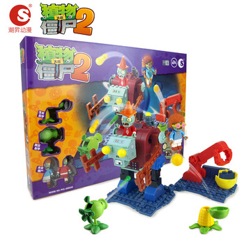 New Style Plants vs Zombies2 Game Building Blocks Bricks Compatible Future world Mecha Giant Doctor Zombie Kids birthday gifts