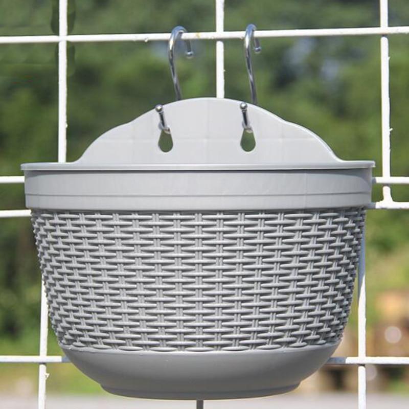 7 Color Plastic Flower Pot Wall Hanging Baskets Bucket Plant Planter Garden Supplies PlantPot Cesto Per Fioriera Sospeso