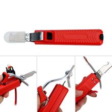Portable Cable Wire Stripper Knife Adjustable Rubber Handle Insulation Stripping Cutter with Hook Blade