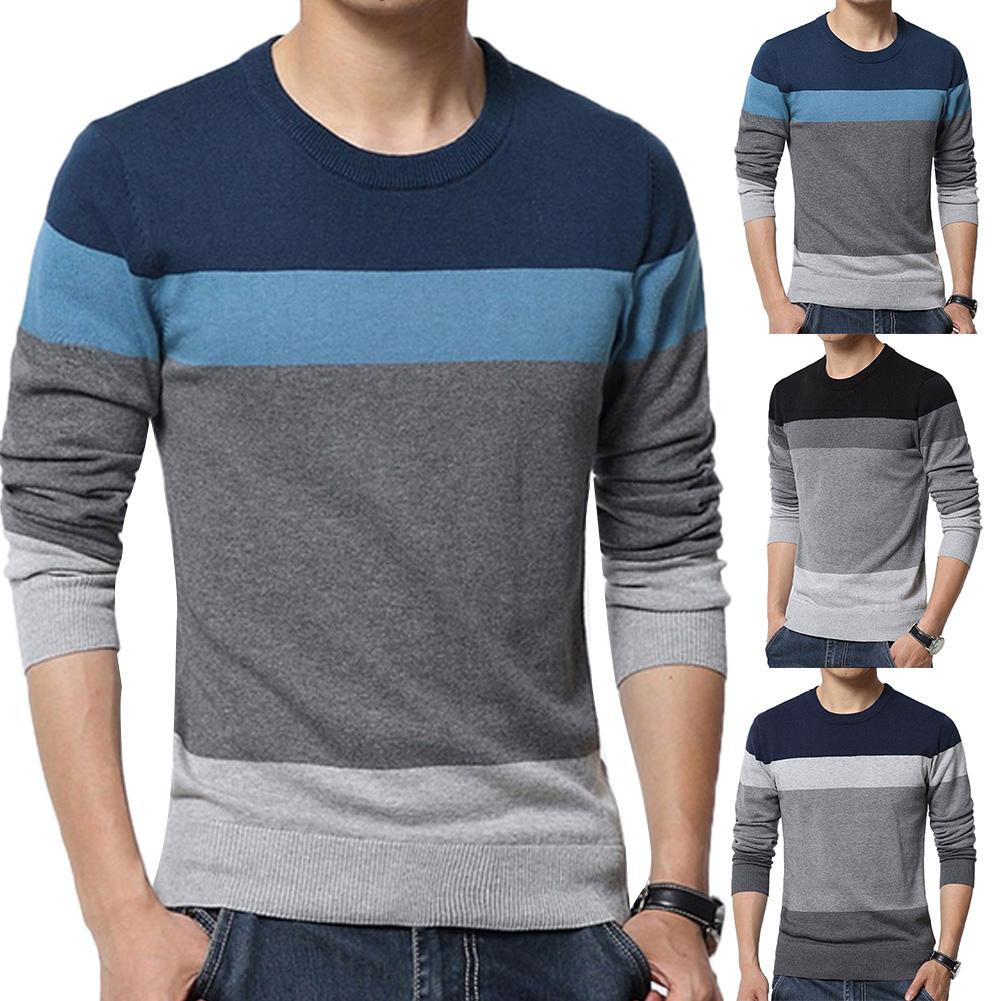 Chic Men Color Block O Neck Long Sleeve  Pullover Blouse Knitted Sweater